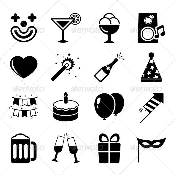 Party Flat Icons Set - Birthdays Seasons/Holidays