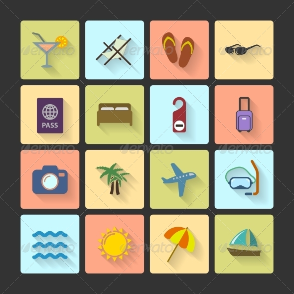 Vacation UI Layout Icons with Squared Shadows - Travel Conceptual