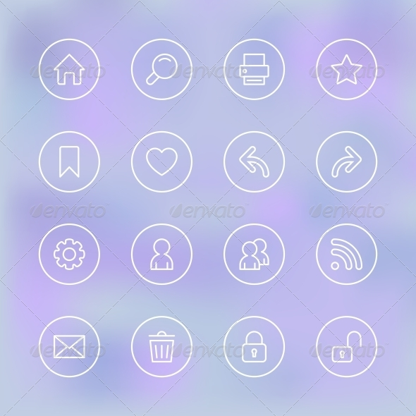 Transparent Set of Icons for Mobile App UI - Web Elements Vectors