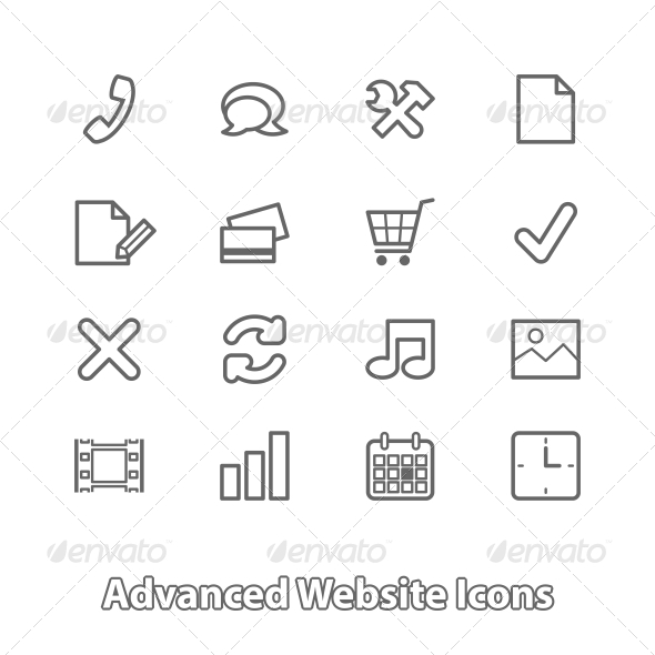 Set of Website Icons for Online Shopping - Web Technology