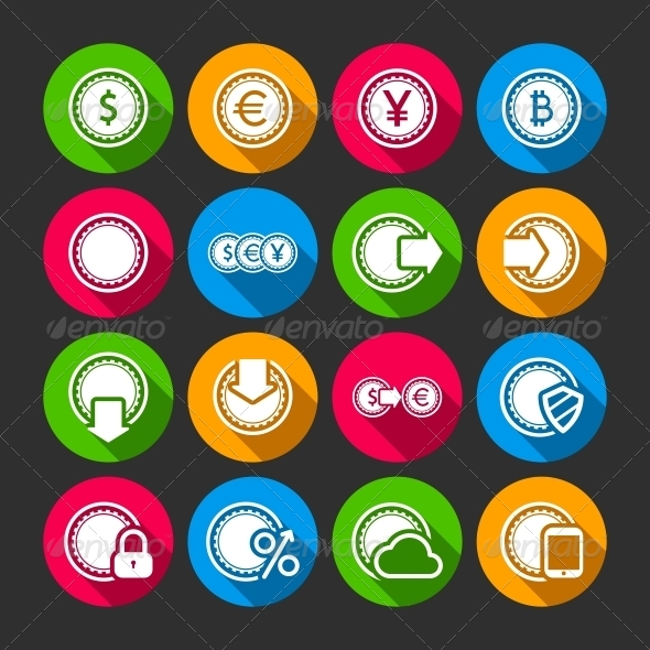 Collection of Coins for Finance or Money App - Business Icons