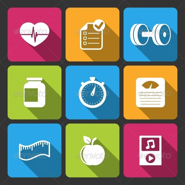 Healthy Lifestyle Iconset for Fitness App - Web Icons