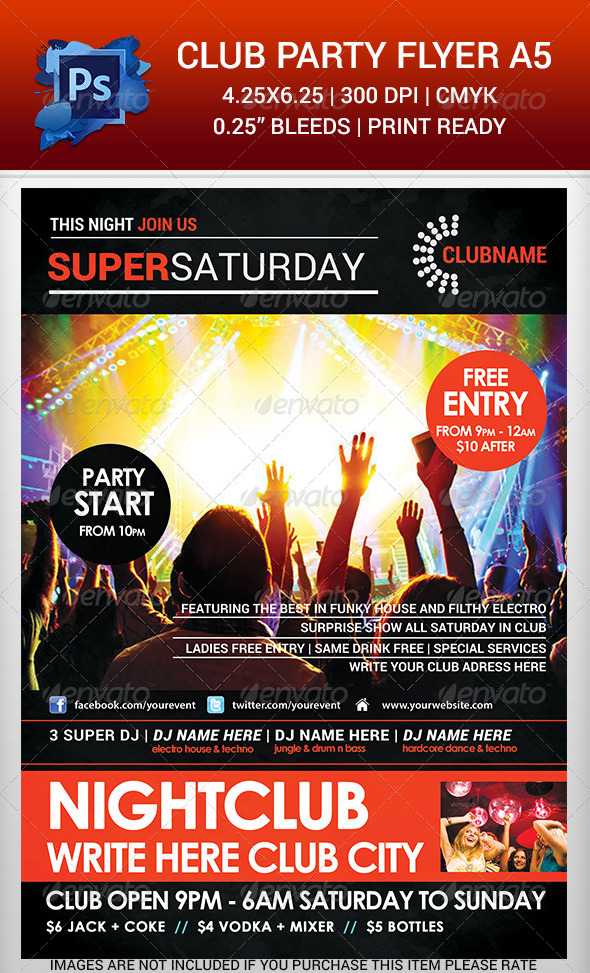 Club Party Time Flyer Template v.2 - Clubs & Parties Events