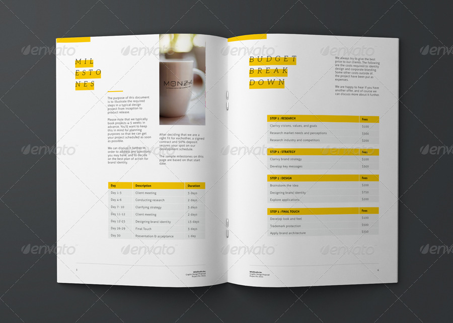 Graphic Design Project Proposal Template   Proposals U0026 Invoices Stationery  · 01 02 03 ...  Graphic Design Proposal Example