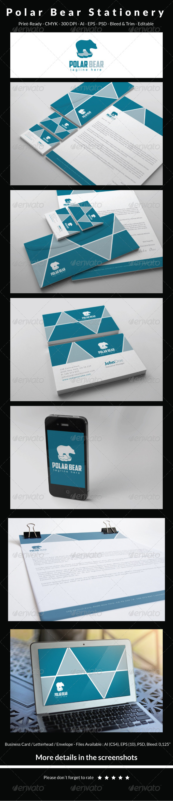 Polar Bear Stationery - Stationery Print Templates