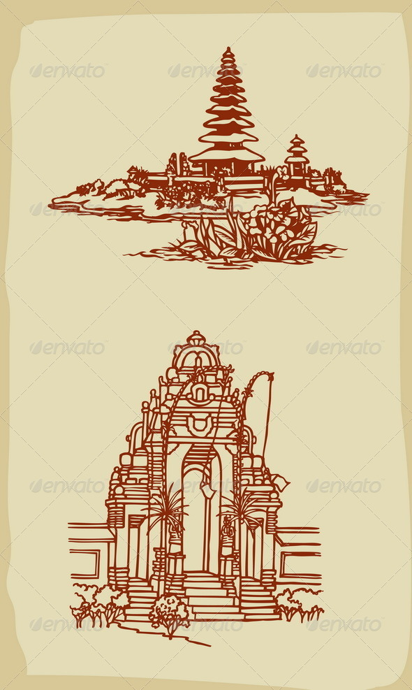 Balinese Temple Illustrations Vintage Style - Buildings Objects