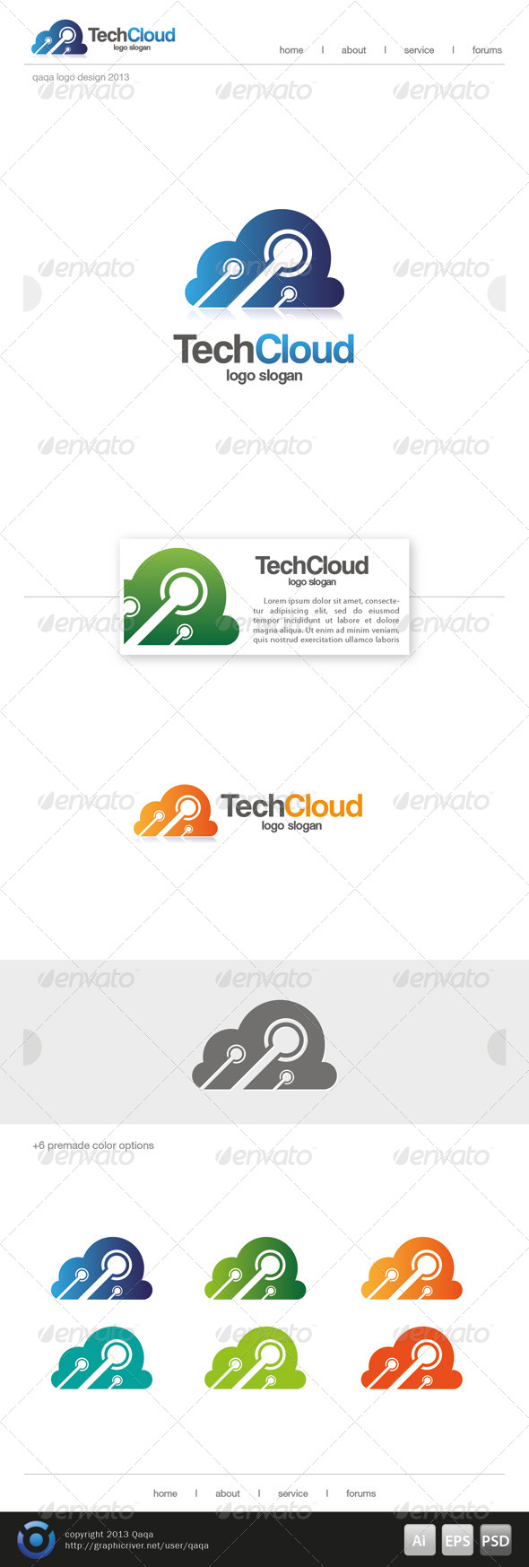 Tech Cloud Logo - Objects Logo Templates