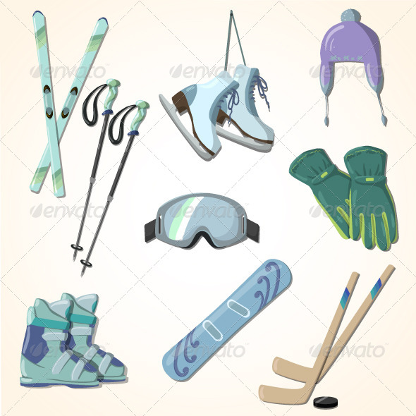 Winter Sports Equipment Icons Collection - Sports/Activity Conceptual