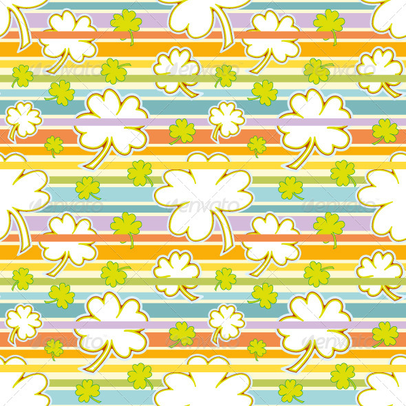 Clover and Rainbow Seamless Pattern - Backgrounds Decorative