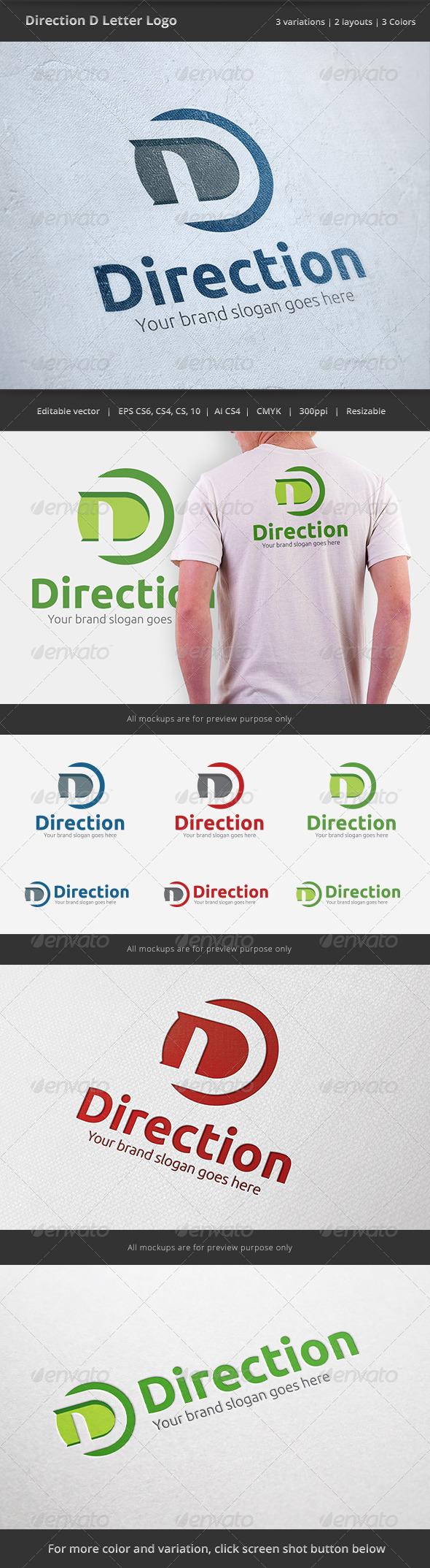Direction D Letter Logo - Letters Logo Templates