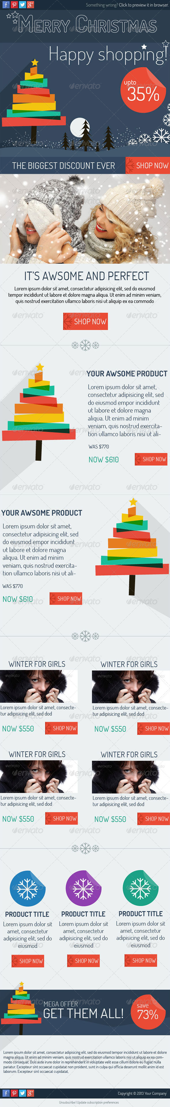 Flat Holiday E-newsletter Template - E-newsletters Web Elements