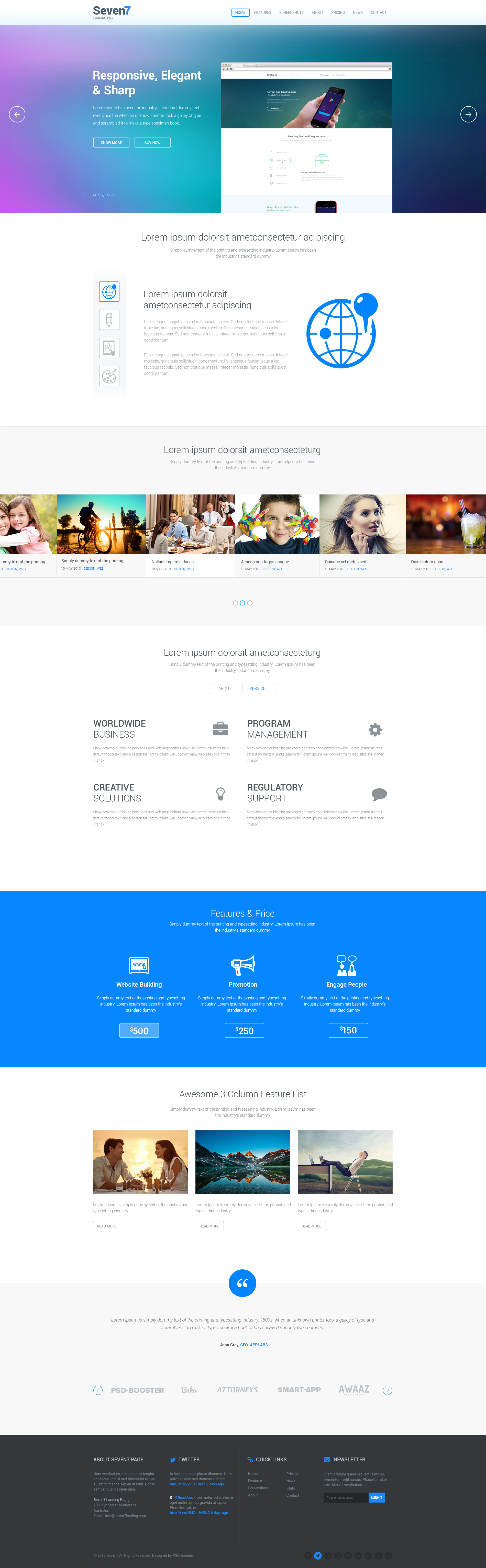 Seven7 Landing Page By Psdbooster Themeforest
