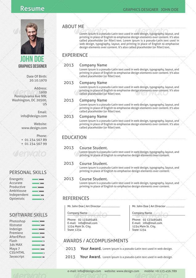 resume cv exclusive by serzik graphicriver