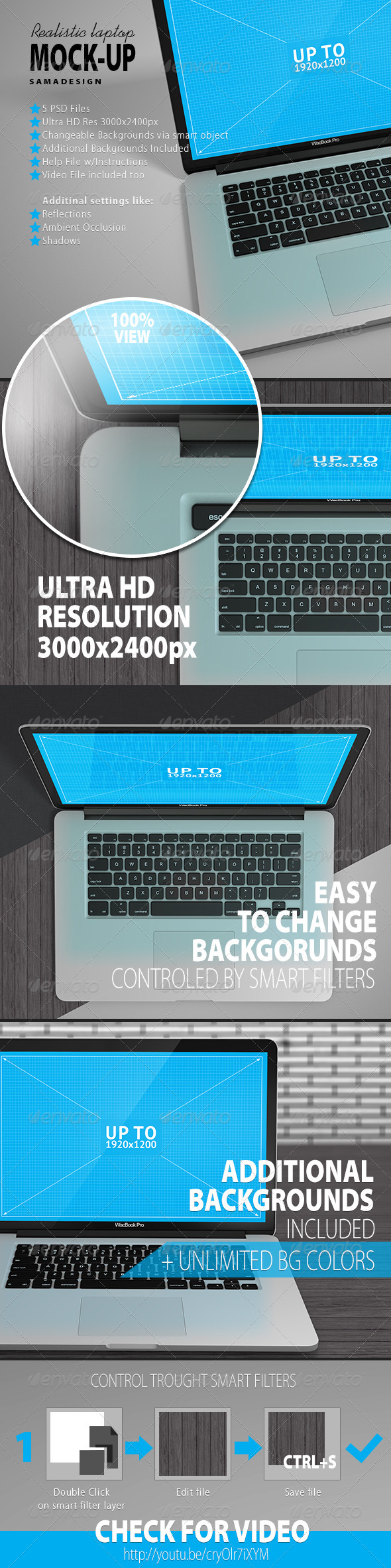 Realistic Laptop Mockup - Product Mock-Ups Graphics