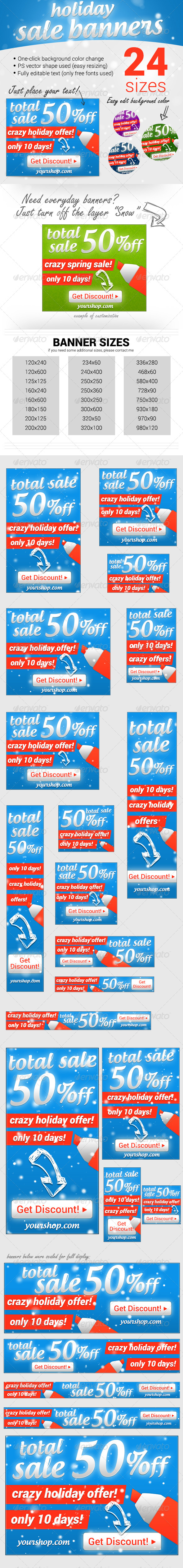 Holiday Sale Ad Banners - Banners & Ads Web Elements