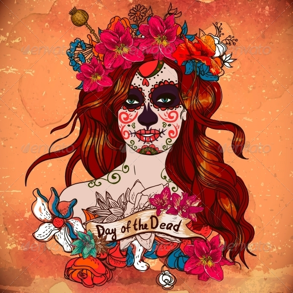 Girl with Sugar Skull Day of the Dead  - Patterns Decorative