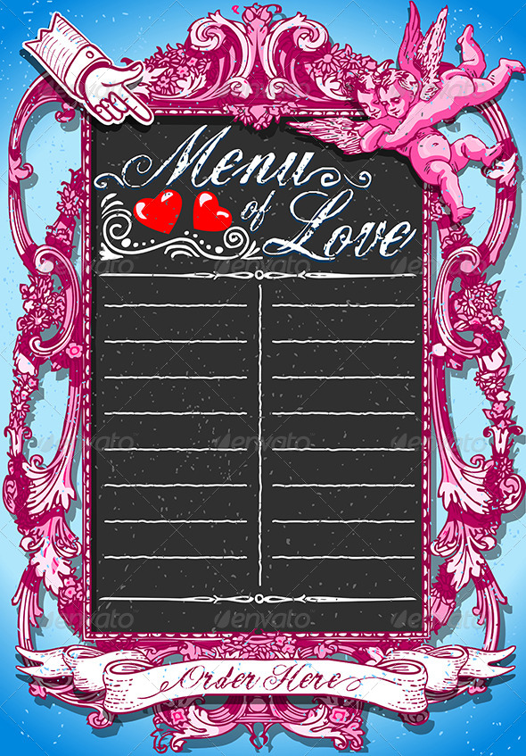 Vintage Pink Blackboard for Valentine's Menu - Decorative Vectors