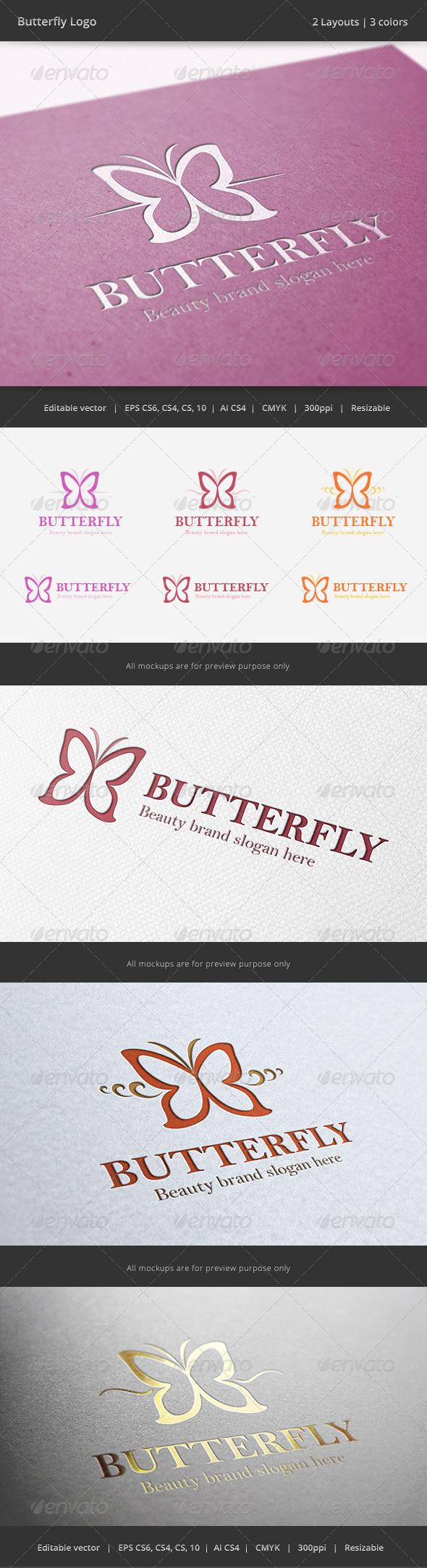 Butterfly Beauty Logo - Animals Logo Templates