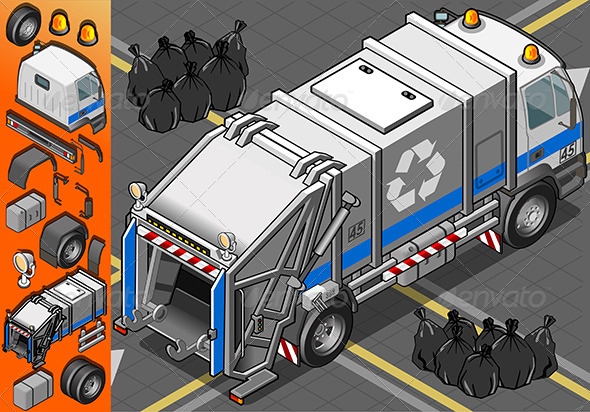 \White Garbage Truck in Rear View - Objects Vectors
