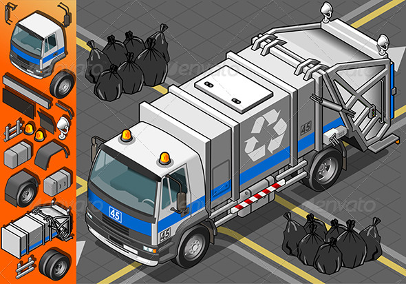 Isometric White Garbage Truck in Front View - Objects Vectors
