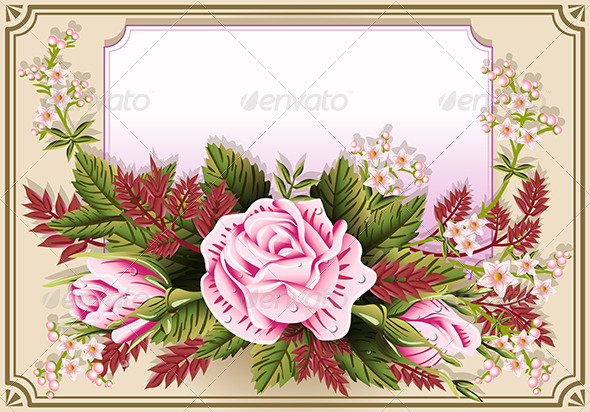 Pink Roses Ornament on Vintage Frame - Flourishes / Swirls Decorative