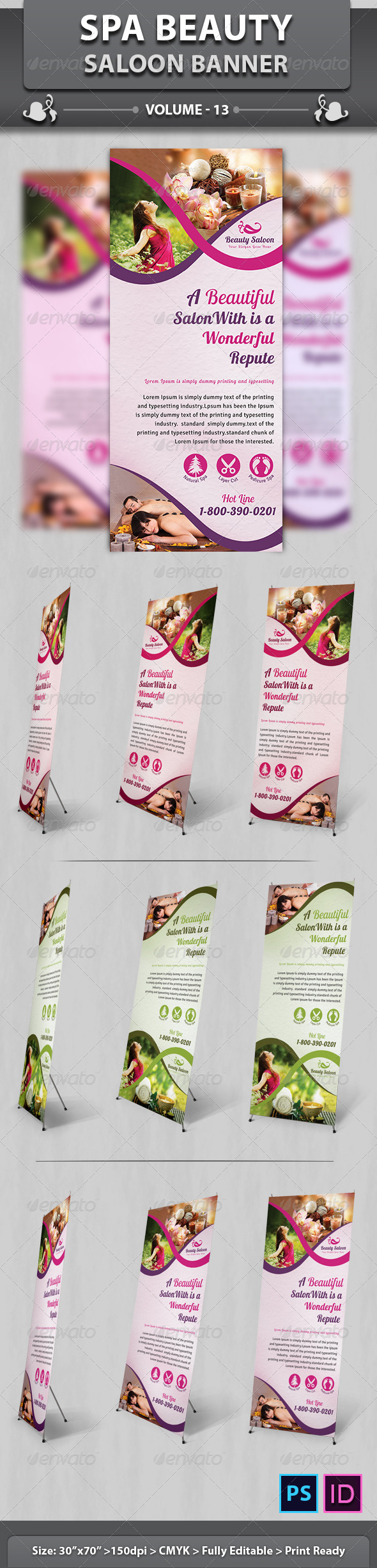 Spa & Beauty Saloon Banner | Volume 13 - Signage Print Templates