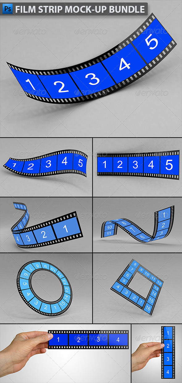 Film Strip Mock-up Bundle - Product Mock-Ups Graphics