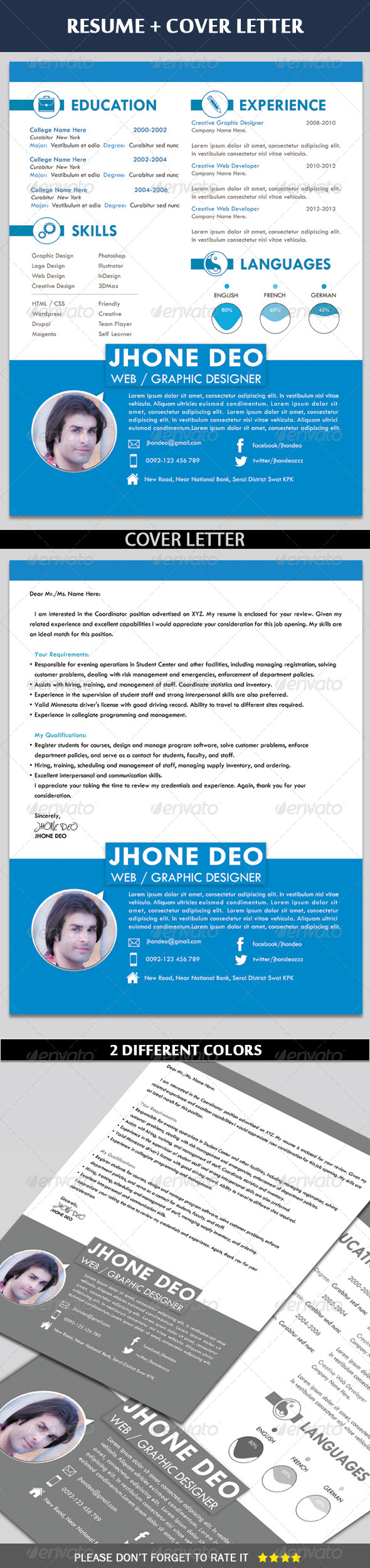 Clean Resume + Coverletter - Resumes Stationery