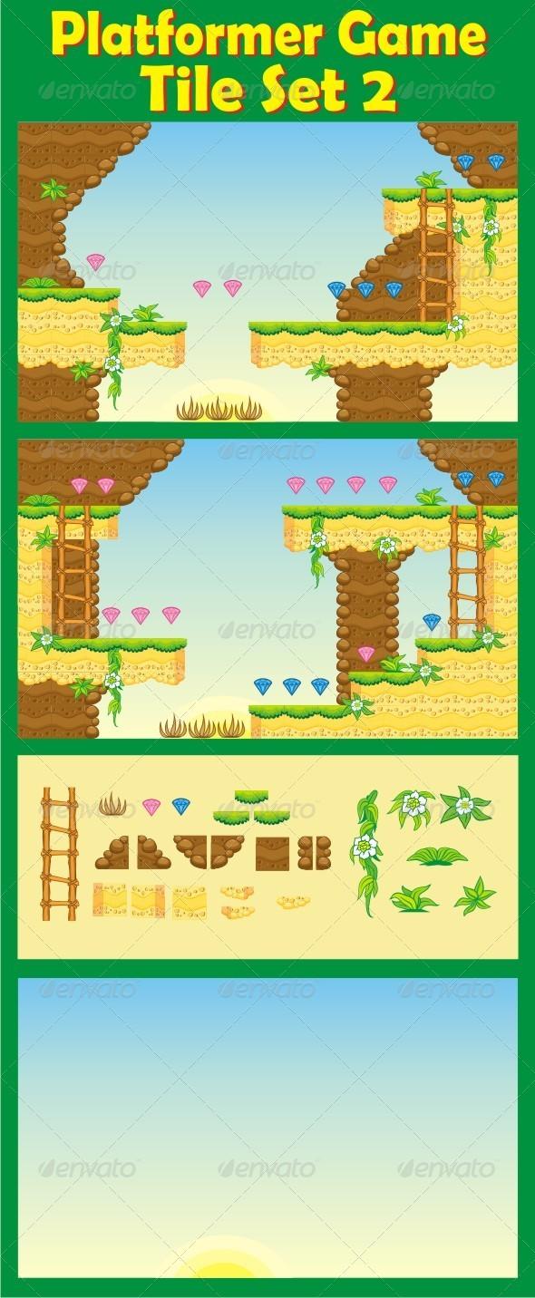 Platformer Game Tile Set 2 - Tilesets Game Assets