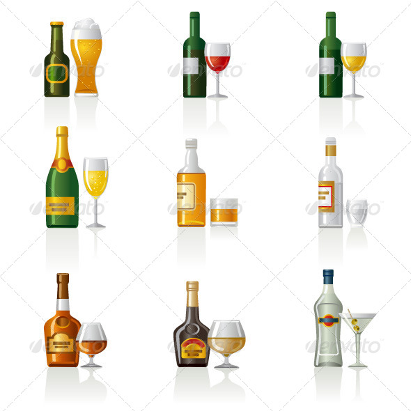 Alcohol Drinks Icon Set - Food Objects