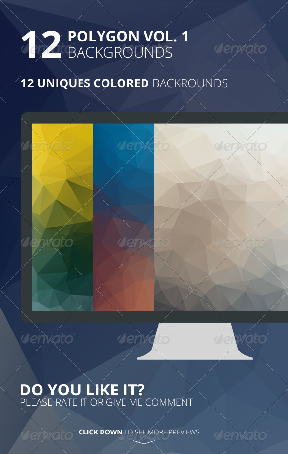 12 Polygon Backgrounds Vol. 1 - Backgrounds Graphics