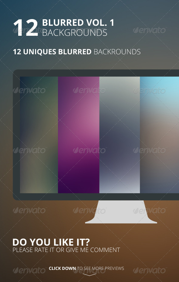 12 Blurred Backgrounds Vol. 1 - Backgrounds Graphics