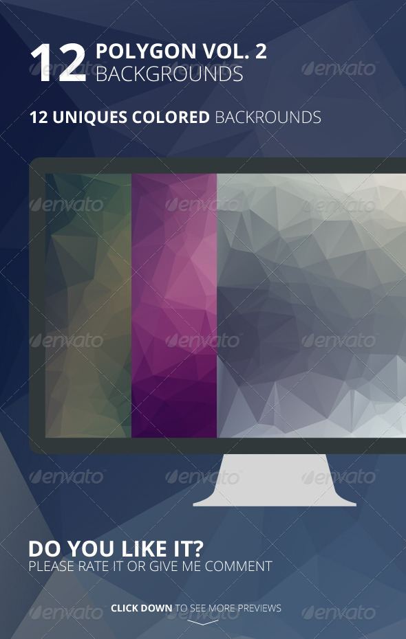 12 Polygon Backgrounds Vol. 2 - Backgrounds Graphics
