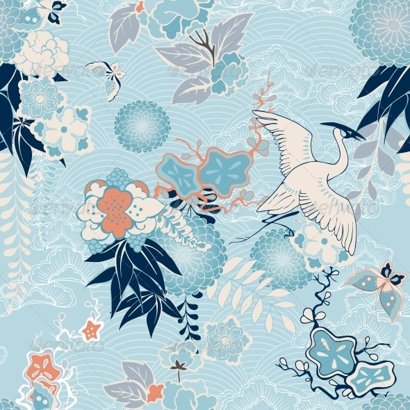 Kimono Background with Crane and Flowers - Backgrounds Decorative