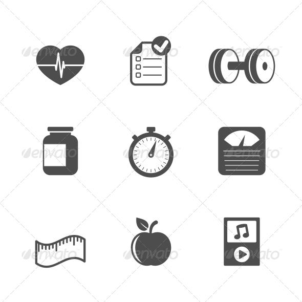 Fitness Icons Set - Web Elements Vectors