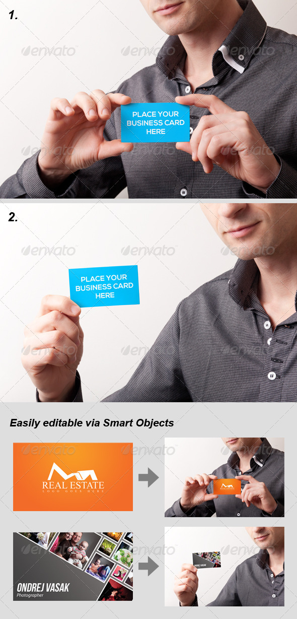 2 Photo-Realistic Business Card Mock-Ups - Business Cards Print