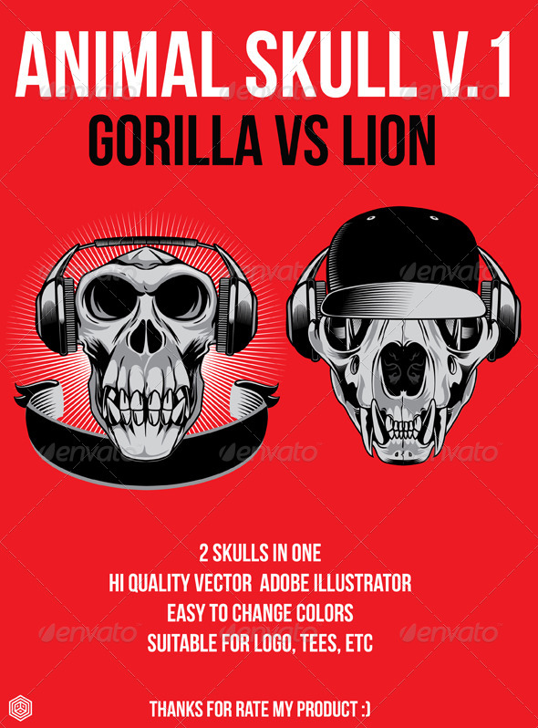 Lion vs Gorilla Skull - Animals Characters