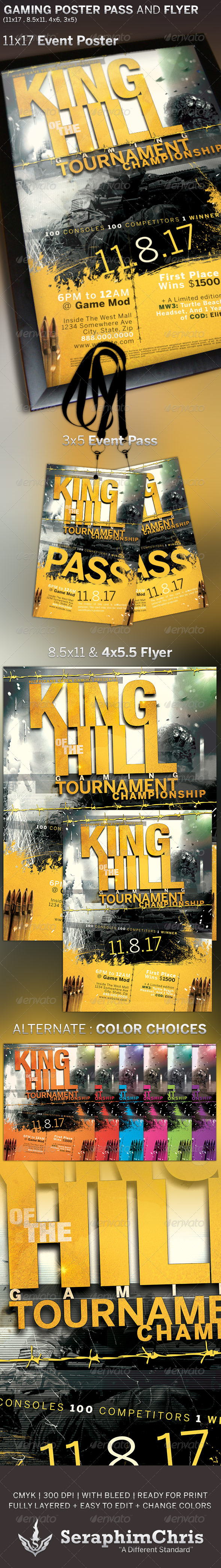 King of The Hill Gaming Poster and Event Pass - Miscellaneous Print Templates
