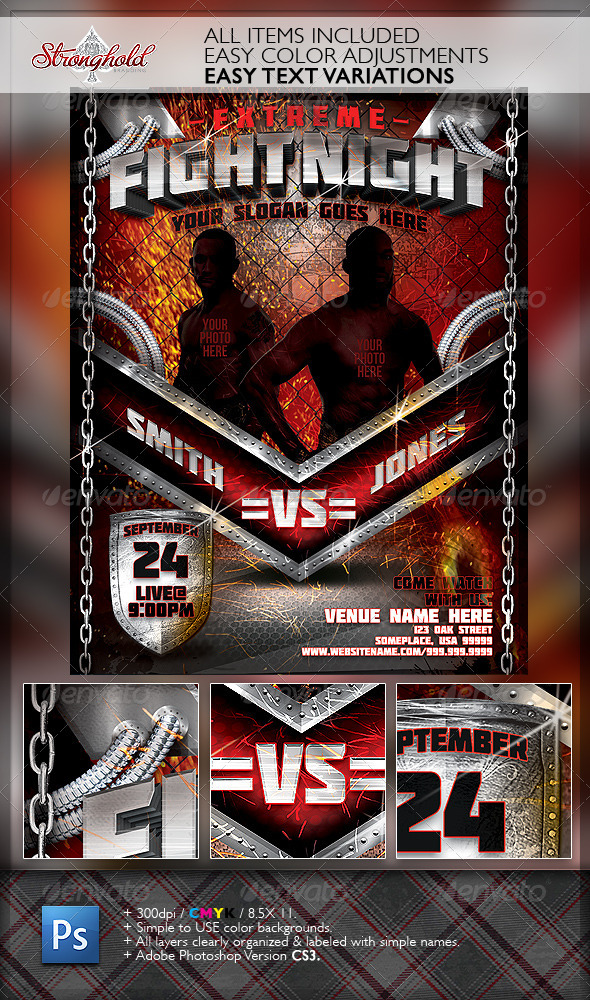 Extreme Fight Night Flyer Template - Print Templates