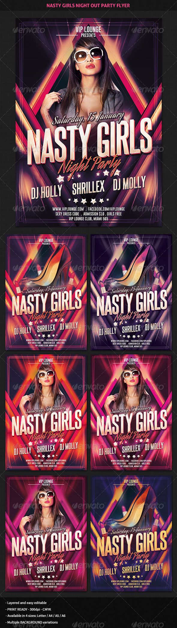 Nasty Girls Night Out Party Flyer - Clubs & Parties Events