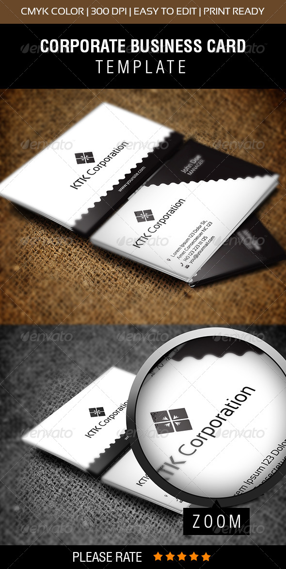 KTK Corporation Business Card - Corporate Business Cards