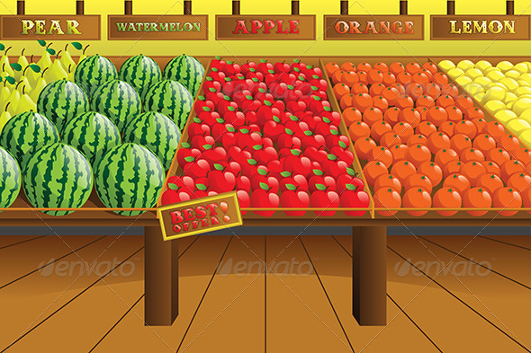 Grocery Store Produce Aisle - Objects Vectors