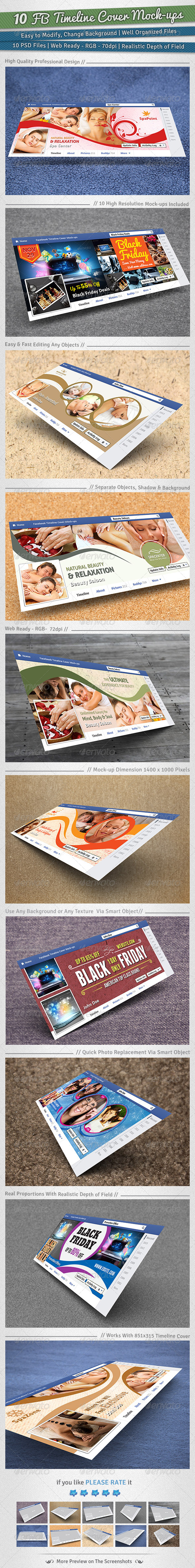 10 Facebook Timeline Cover Mock-ups - Miscellaneous Product Mock-Ups