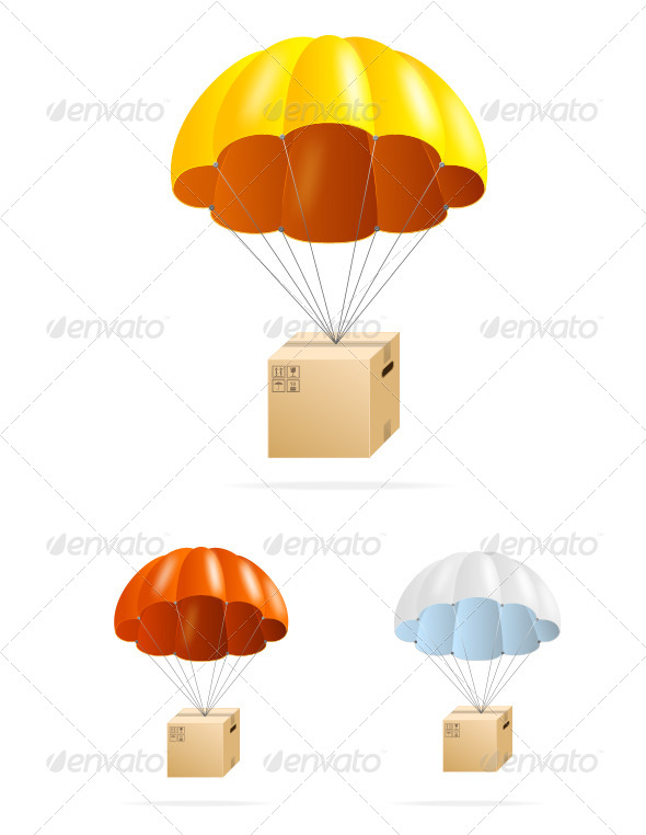Airmail Shipping Delivery Parachute with Box Set - Commercial / Shopping Conceptual