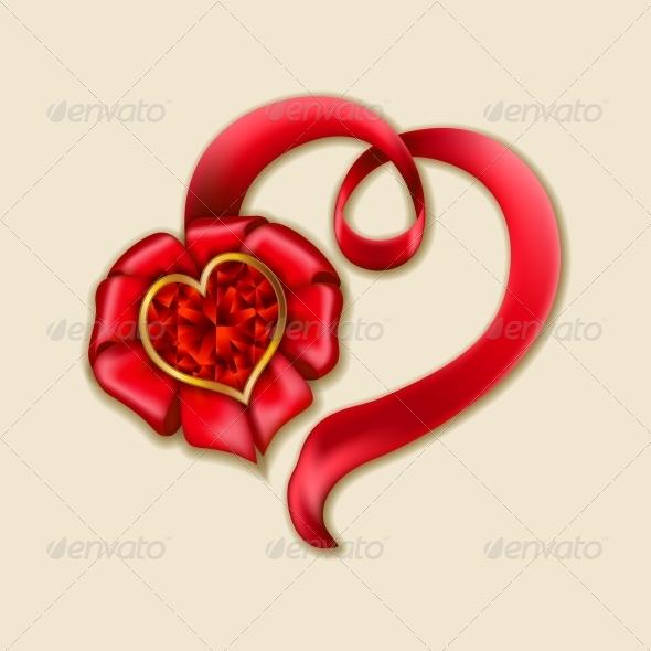 Heart from Ribbon Valentine's Day Background - Valentines Seasons/Holidays