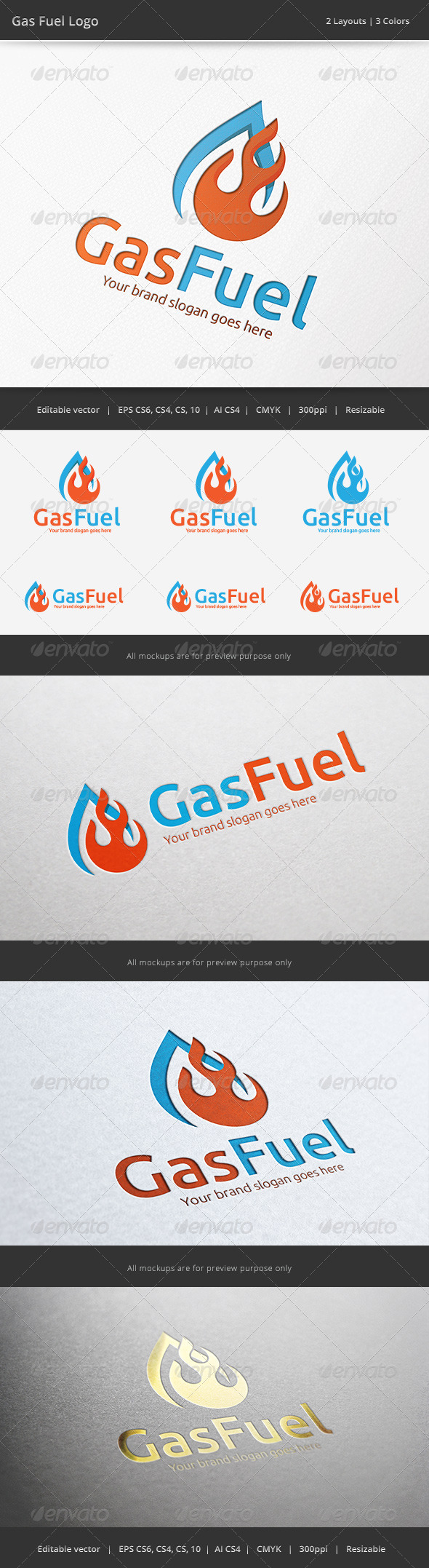 Gas Fire Fuel Logo - Objects Logo Templates