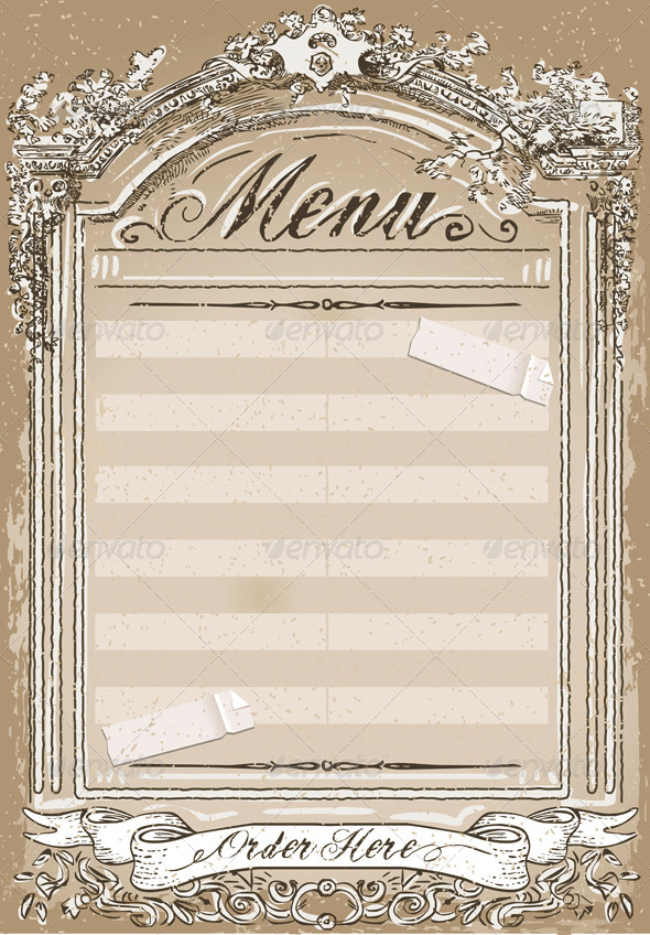 Vintage Graphic Page for Restaurant Menu - Decorative Vectors