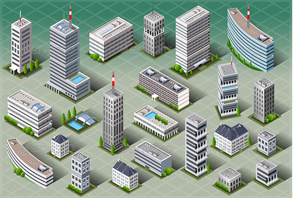 Isometric European Buildings - Buildings Objects