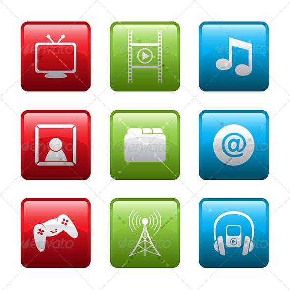 Electronic Entertainment Icons - Web Elements Vectors