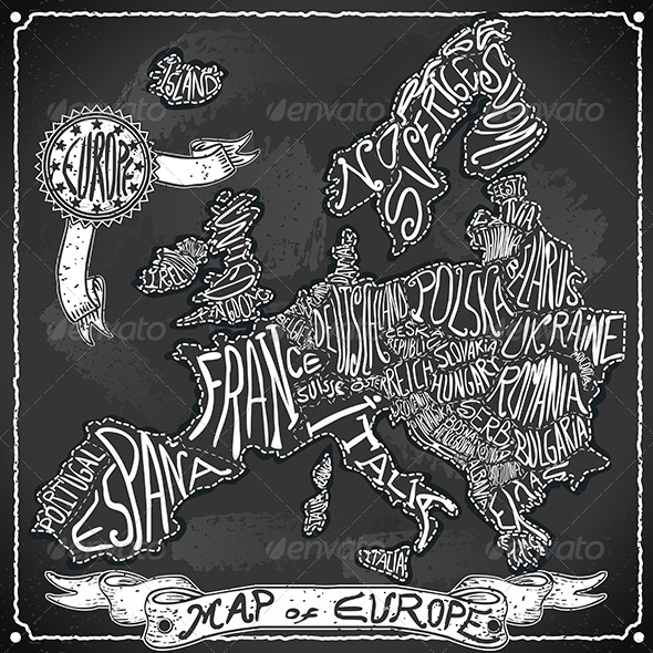 Europe Map on Vintage Handwriting BlackBoard - Travel Conceptual
